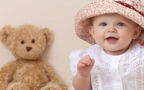 Picture Teddy bear, children, Beautiful, child, child, smile, blue eyes, teddy bear, hat, girl, children, beautiful ...