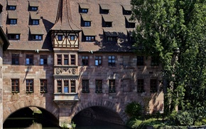 Picture trees, house, river, the building, Germany, channel, Nuremberg, River Pegnitz