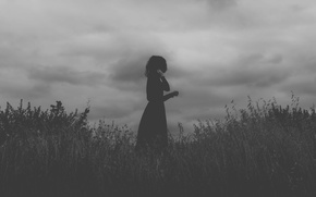 Picture girl, field, clouds, black dress