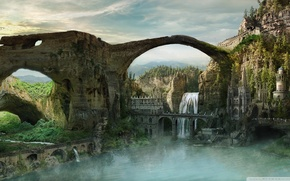 Picture the city, fantasy, stones, art, arch, fortress