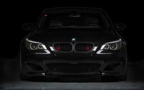 Wallpaper black, bmw, BMW, black, the front, e60