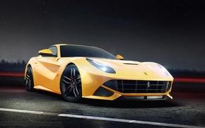 Picture Ferrari, Front, Yellow, Road, Berlinetta, F12, Ligth, Nigth