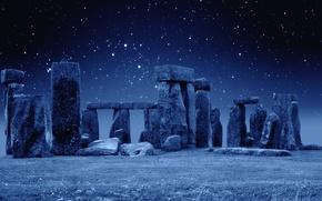 Wallpaper England, Stonehenge, night, Stonehenge, stars
