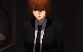 Picture girl, the dark background, picture, art, costume, tie, red, aconitea