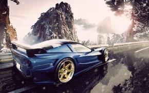 Picture road, snow, mountains, corvette, chevrolet