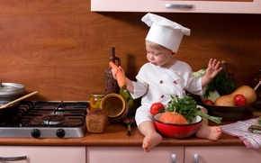 Picture bread, kitchen, plate, pumpkin, cook, vegetables, tomato, carrots, child, parsley, bread, carrot, pumpkin, cook, Child, ...