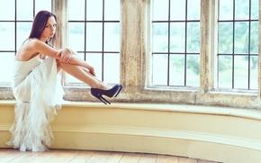 Picture girl, sad, dress, tatoo, window, brunette, shoes, kind, sill