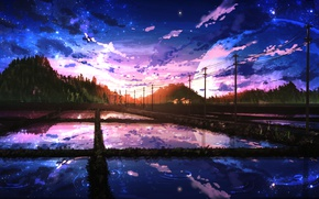 Wallpaper road, forest, the sky, water, reflection, hills, posts, wire, the evening, Japan, The moon, Smile, ...