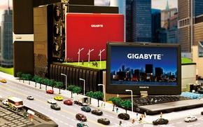 Wallpaper trees, machine, the city, street, doll, netbook, GIGABYTE