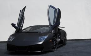 Picture black, lamborghini, black, murcielago, the front, Lamborghini, guillotine, doors, Murcielago, lp670-4 sv, white wall