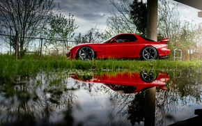 Picture car, reflection, red, rx7, Mazda, Mazda RX-7