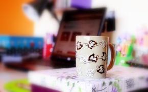 Picture bright, mood, figure, mug, Cup, monkey, monkeys
