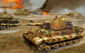 Picture war, figure, battle, Tiger II, King tiger, the is-2, Tiger II, heavy tank, King tiger, …