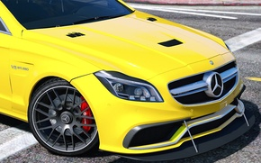 Picture yellow, Mercedes-Benz, AMG, GTA 5, 2015, CLS 6.3