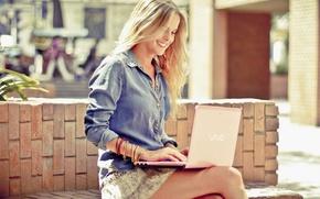 Picture smile, Girl, blonde, laptop, VAIO