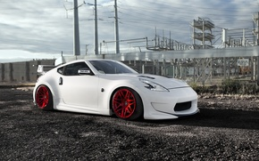 Picture Nissan, Red, Front, White, 370Z, Stance, Wheels, Pure, Bloodlines