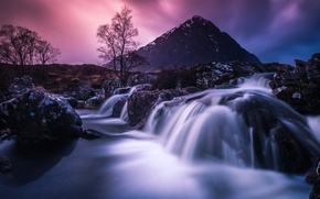 Picture the sky, trees, landscape, mountains, stones, waterfall, the evening, Wallpaper from lolita777