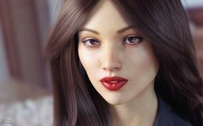 Picture look, girl, face, rendering, hair, lipstick, brown eyes