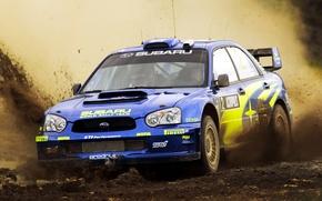 Picture Subaru, Impreza, Machine, The hood, Dirt, Day, Lights, WRC, Rally, Rally, Mikko Hirvonen