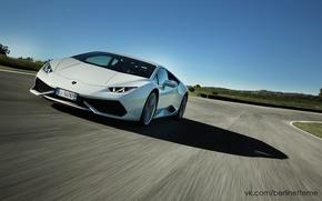 Picture road, white, Lamborghini, supercar, Huracan