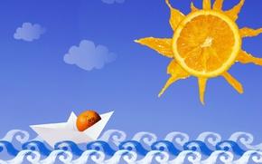 Picture sea, the sun, ship