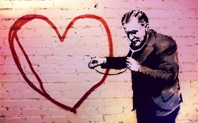 Picture heart, the doctor, graffiti wall