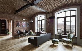 Picture room, interior, living room, loft style