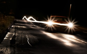 Picture road, machine, night, lights, lights, cars, different, night, journey