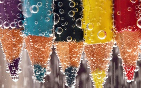 Picture water, bubbles, liquid, pencils