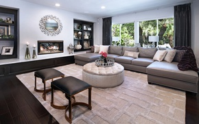 Picture design, sofa, mirror, fireplace, mansion, Design, living room, Interior, Living
