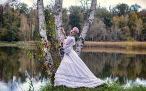 Wallpaper girl, lake, birch