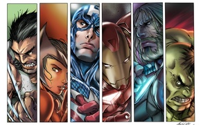 Picture Hulk, Wolverine, Iron Man, Marvel, Captain America, Thor, Scarlet Witch