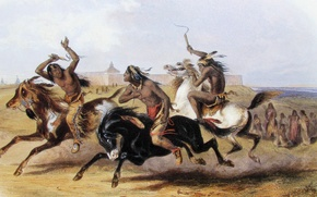 Picture picture, painting, painting, Karl Bodmer, Bodmer, Horse Racing of the Sioux (Source), 1839