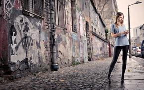 Picture girl, the city, street, blonde, phone, the sidewalk, leggings, red lips, t-shirt striped, leggings