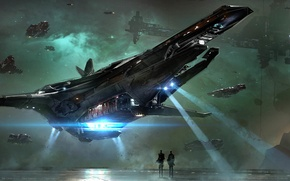 Picture the sky, night, the city, fiction, planet, ships, game wallpapers, Star Citizen
