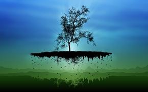 Wallpaper tree, vector, island