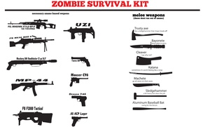 Picture zombie, uzi, melee weapons, survival hit