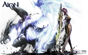 Picture dragon, Girl, sword, Aion, templar, NCSOFT