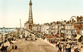 Picture the city, retro, street, England, old photo, England, Lancashire, ca.1898, Blackpool