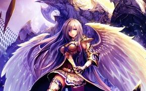 Picture girl, wings, monster, sword, art, tachikawa mushimaro, shingeki no bahamut