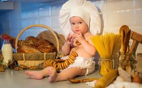 Picture child, baby, milk, cookies, kitchen, cook, muffin, child, buns, cookies, pasta, kitchen, buns, Cakes, Baking, …
