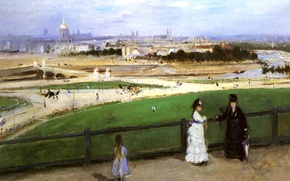 Picture landscape, picture, Edouard Manet, Berthe Morisot. View of Paris from the Trocadero Heights