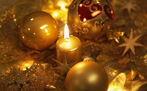 Picture stars, balls, snowflakes, holiday, balls, new year, candle, gold, Christmas decorations