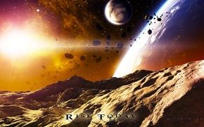 Picture stars, light, planet, asteroids, satellites
