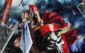 Picture rain, skull, sword, armor, Warrior, burning eyes