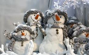 Wallpaper fun, White snowmans, winter, scarves, smiling, new year, grey, snowmen