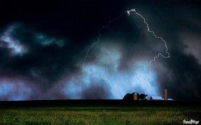Picture the storm, night, clouds, rain, dark, the shower, farm