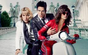 Wallpaper Penelope Cruz, poster, scooter, Ben Stiller, three, the city, Comedy, Penelope Cruz, Zoolander 2, glasses, ...