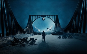 Picture night, bridge, lights, lights, tank, poster, drama, military, barbed wire, Tom Hanks, Tom Hanks, barrier, …