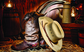 Picture hat, cowboy, boots, stable
